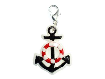 Anchor On White Maritime Charm Zipper Pull Pendant Sea – Bild 1