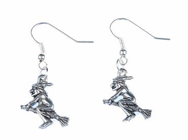 Witch Earrings Miniblings Halloween Magician Magic Death Broom Silver – Bild 2