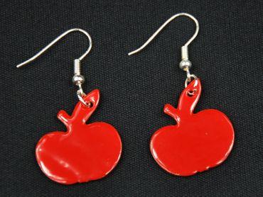 Enamel Apple Earrings Miniblings Pendant Enameled Food Orchard Red – Bild 1