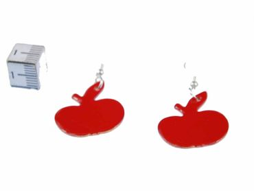 Enamel Apple Earrings Miniblings Pendant Enameled Food Orchard Red – Bild 2