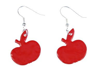 Enamel Apple Earrings Miniblings Pendant Enameled Food Orchard Red – Bild 3
