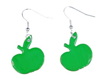 Enamel Apple Earrings Miniblings Pendant Enameled Food Fruit Garden Green – Bild 1