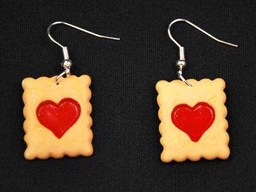 Cookie Heart Earrings Miniblings Baking Christmas Biscuits Jam – Bild 2