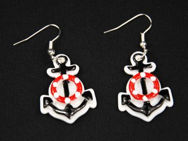 Anchor On White Earrings Miniblings Lifebelt Maritim 2 In 1 Sea – Bild 1