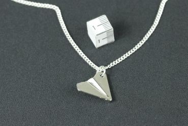 Papierflieger Necklace Miniblings 45cm Origami Airplane Harry Styles Silver Plated – Bild 3