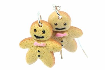 Lebkuchenmann Ohrringe Miniblings Hänger Weihnachten Stutenkerl Keks Schleife – Bild 1