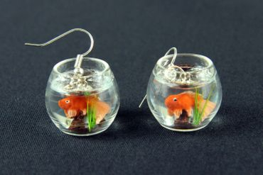 Goldfish In A Bowl Fishbowl Earrings Miniblings Fish Aquarium Mini – Bild 1