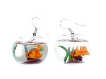 Goldfish In A Bowl Fishbowl Earrings Miniblings Fish Aquarium Animal Pet Koi – Bild 2