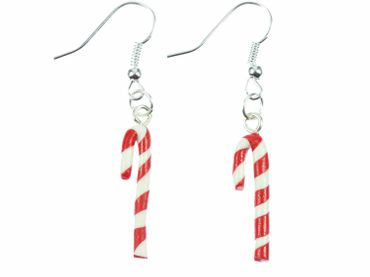 Candy Cane Earrings Miniblings Candy Canes Christmas Red White – Bild 1