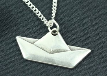 Paper Boat Necklace Sailboat Boat Miniblings 45cm Boat Origami Silver