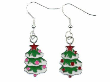 Weihnachtsbaum Ohrringe Hänger Miniblings Tannenbaum Christbaum Weihnachten bunt – Bild 1