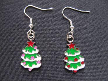 Weihnachtsbaum Ohrringe Hänger Miniblings Tannenbaum Christbaum Weihnachten bunt – Bild 4