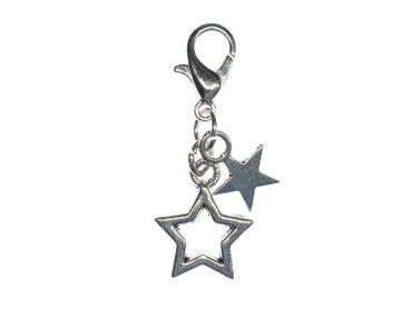Sternchen Charm Bettelanhänger Anhänger Miniblings 2 Sterne Stern silber – Bild 1