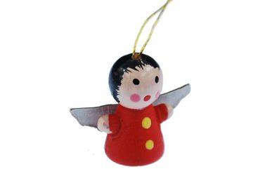3 Stück Weihnachtsbaumanhänger Christbaumschmuck Dekoration Engel Holz rot – Bild 2