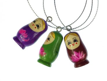 3 Pieces Christmas Tree Decorations Ornaments Ornament Xmas Matryoshka Wooden – Bild 1