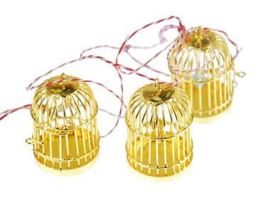 3 Pieces Christmas Tree Decorations Ornaments Ornament Xmas Gold Birdcage Birds Cages – Bild 1
