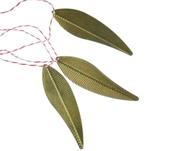 3 Pieces Christmas Tree Ornament Christmas Tree Decorations Decoration Bronze Leaves Leaf – Bild 1
