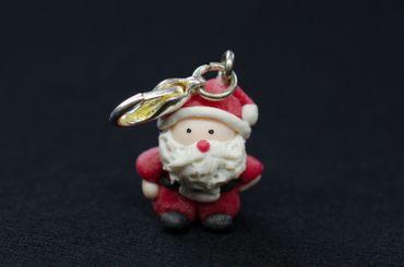 Weihnachtsmann Charm Anhänger Miniblings Weihnachten Nikolaus Santa Claus Fimo – Bild 2