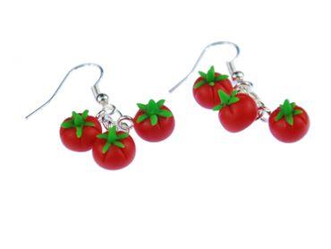 Tomate Ohrringe Hänger Miniblings Tomaten Obst Gemüse 3er Küche Koch rot rund – Bild 1