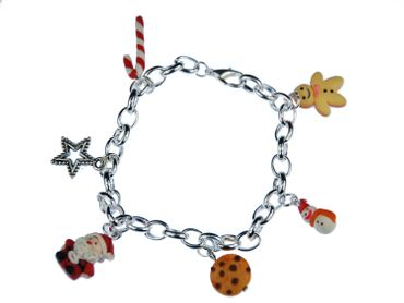 Christmas Bracelet Dangle Set Of 6 Santa Cookie Star Snowman Candy Cane X-Mas Gingerbread – Bild 1