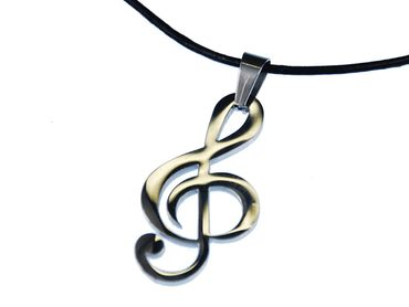 Clef Music Necklace Miniblings Treble Clef Leather Silver XL – Bild 2