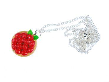 Torte Erdbeertorte Halskette Kette Miniblings Erdbeeren Kuchen Süßes 60cm – Bild 2