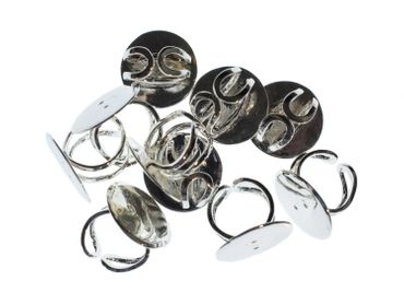 10X Ring Rails Ring Rail Rings Settings Findings Miniblings 25mm Silver Plated – Bild 1
