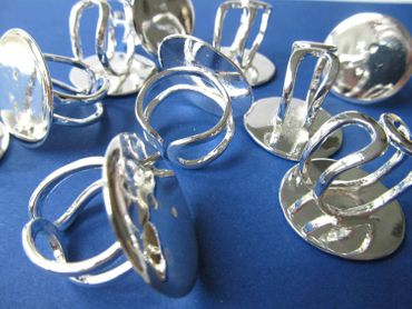 10X Ring Rails Ring Rail Rings Settings Findings Miniblings 25mm Silver Plated – Bild 2