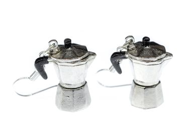 Coffee Percolator Coffee Pot Earrings Italy Miniblings Cafe Mocha Coffee Silver Espresso – Bild 2