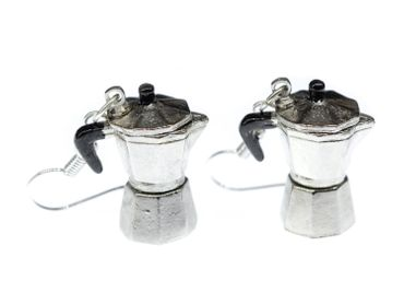 Coffee Percolator Coffee Pot Earrings Italy Miniblings Cafe Mocha Coffee Silver Espresso – Bild 1