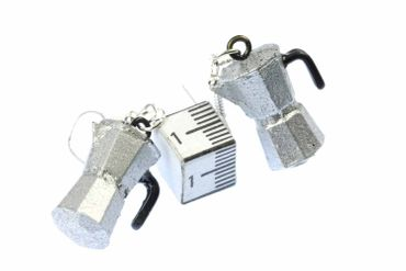 Coffee Percolator Coffee Pot Earrings Italy Miniblings Cafe Mocha Coffee Silver Espresso – Bild 5