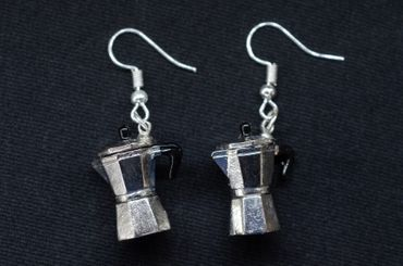Coffee Percolator Coffee Pot Earrings Italy Miniblings Cafe Mocha Coffee Silver Espresso – Bild 3
