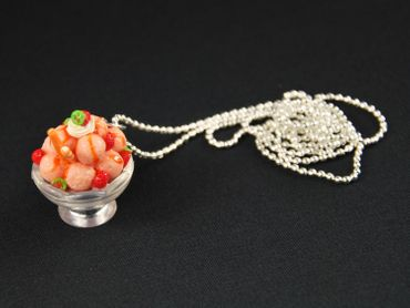 Icecream Cup Necklace Miniblings Strawberry Orange Ice Cream Sweet 80cm – Bild 2