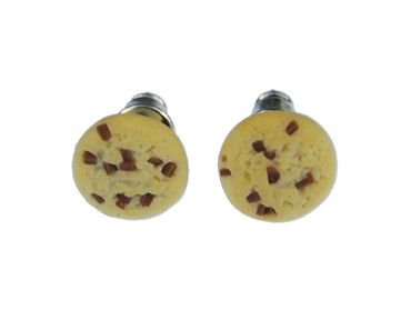 Biscuit Cookie Chocolate Chip Earrings Ear Studs Earstuds Miniblings Plug Christmas Round 9mm – Bild 4