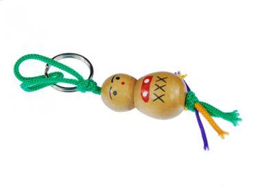 Good Luck Figure Key Chain Key Ring Miniblings Wooden Doll Wood – Bild 1