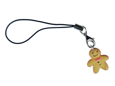 Gingerbread Man Mobile Phone Charm Pendant Miniblings Christmas Gingerbread Men Polymer Clay – Bild 1