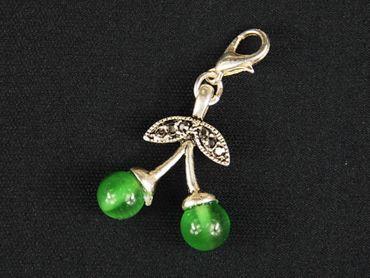 Cherries Double Green Glass Beads Charm For Bracelet Wristlet Dangle Miniblings Green – Bild 3