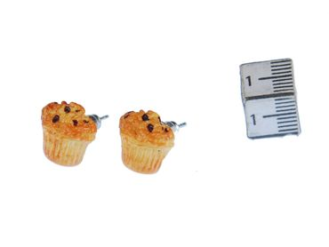 Muffin Earrings Ear Studs Earstuds Miniblings Tart Blueberry Cupcake Beige – Bild 1