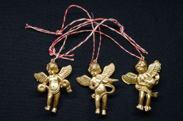 3 Pieces Christmas Tree Decorations Ornaments Ornament Xmas Cherubs Angel Golden Angels – Bild 2