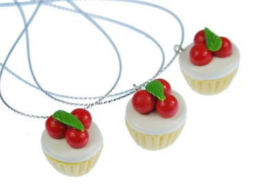 3 Pieces Christmas Tree Decorations Ornaments Ornament Xmas Tart Cherries Cupcakes – Bild 1