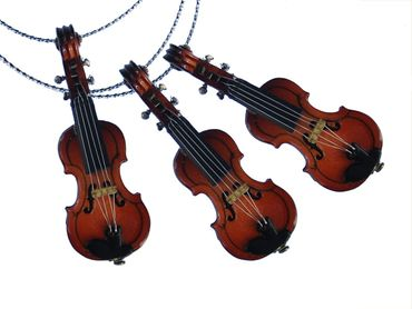 3 Pieces Christmas Tree Decorations Ornaments Ornament Xmas Fiddle Violin Wood Violins – Bild 1