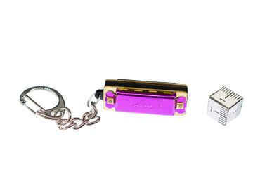 Purple Harmonica Key Ring Miniblings Pendant Playable Metal Musik Instrument – Bild 2