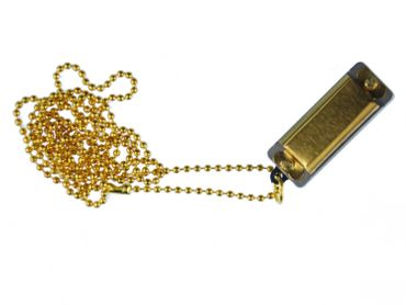 Golden Harmonica Necklace Miniblings 80cm Musician Music Gold Playable Ball Chain – Bild 1