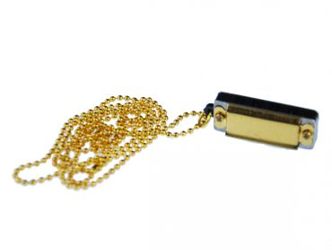 Golden Harmonica Necklace Miniblings 80cm Musician Music Gold Playable Ball Chain – Bild 2