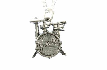 Drums Necklace Miniblings 45cm Music Musician Drummer Band Silver Plated – Bild 1