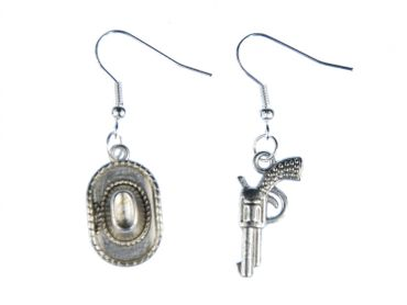 Western Earrings Cowboy Hat And Revolver Earrings Miniblings Hat Colt Silver – Bild 1