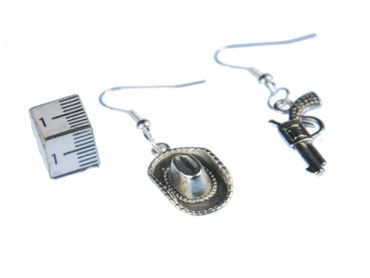 Western Earrings Cowboy Hat And Revolver Earrings Miniblings Hat Colt Silver – Bild 2