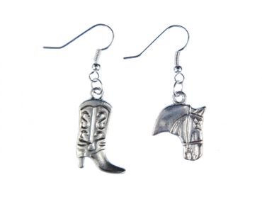 Western Earrings Cowboy Boots And Horse Head Earrings Miniblings Duo Silver – Bild 1