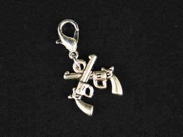 Guns Crossed Charm For Bracelet Dangle Miniblings Western Colts Silver – Bild 2