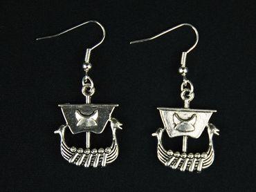 Viking Ship Earrings Miniblings Viking Boat Ship Silver – Bild 2